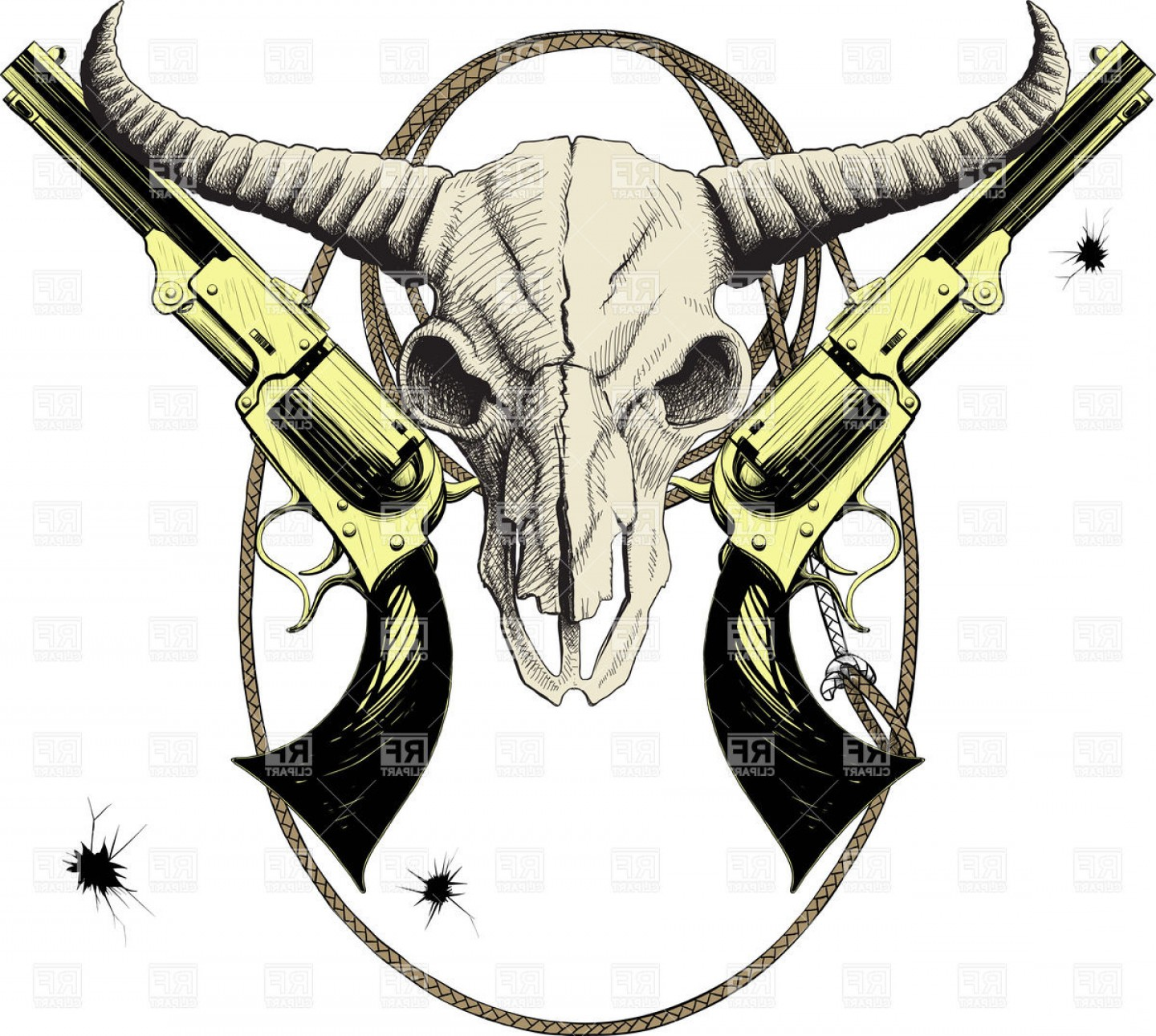 Western skull clipart svg library download Mascot Of The Wild West With Skull Bison And Revolvers In ... svg library download