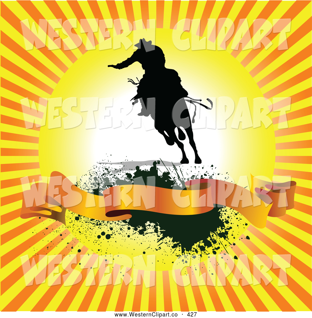 Western sunrise clipart graphic transparent library Vector Western Clip Art of a Tough Cowboy at Sunrise over a ... graphic transparent library