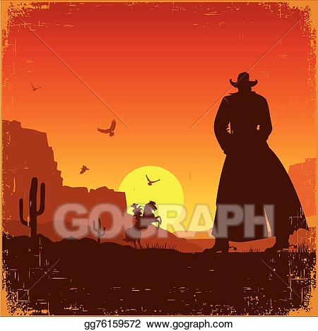 Western sunrise clipart svg royalty free download Vector Art - Wild west american landscape. vector western ... svg royalty free download