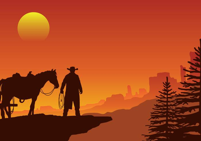 Western sunrise clipart vector royalty free Gaucho in a Wild West Sunset Landscape Vector - Download ... vector royalty free