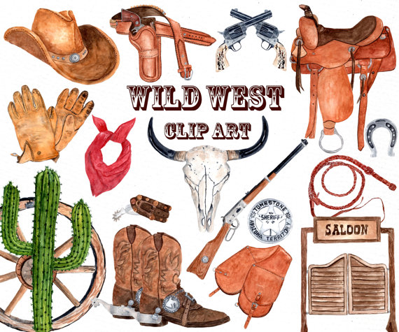 Western wedding clipart free svg royalty free Watercolor Western Clipart: \