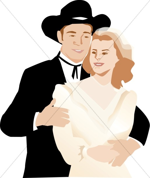 Western wedding couple clipart picture transparent library Western Wedding Couple   Christian Wedding Clipart picture transparent library