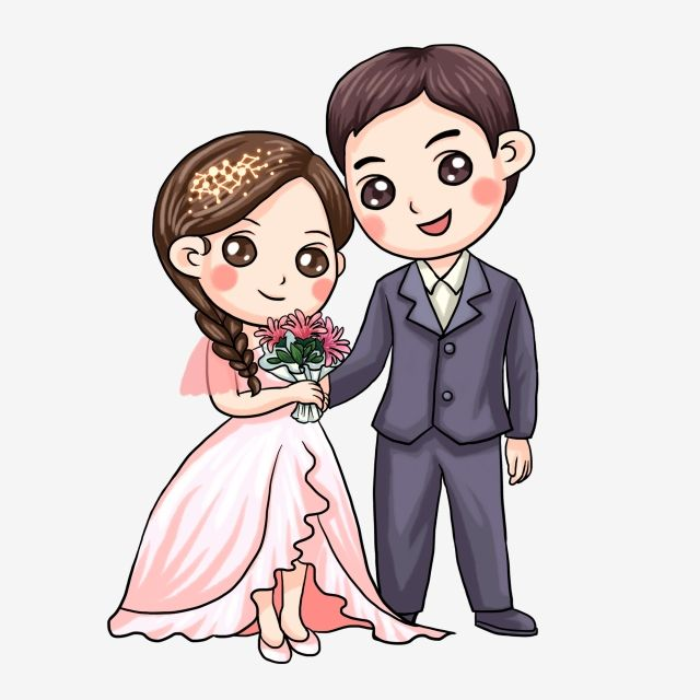 Western wedding couple clipart clip freeuse download Chinese Style Cartoon Bride And Groom Wedding, Illustration ... clip freeuse download