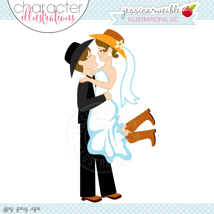 Western wedding couple clipart royalty free download Western Wedding Couple Digital Clipart - JW Illustrations ... royalty free download