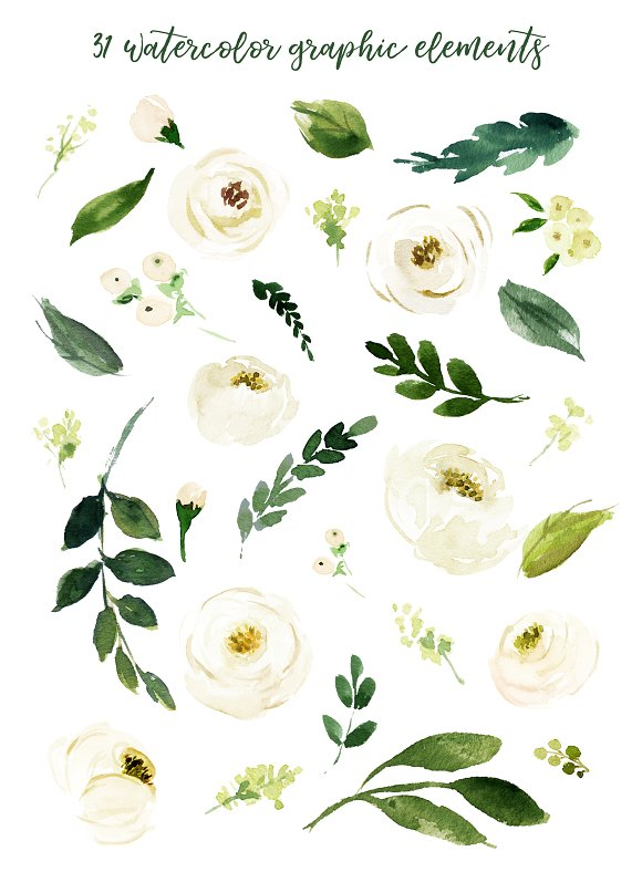 Western white flowers clipart banner library library Watercolor White Flower Clip Art banner library library