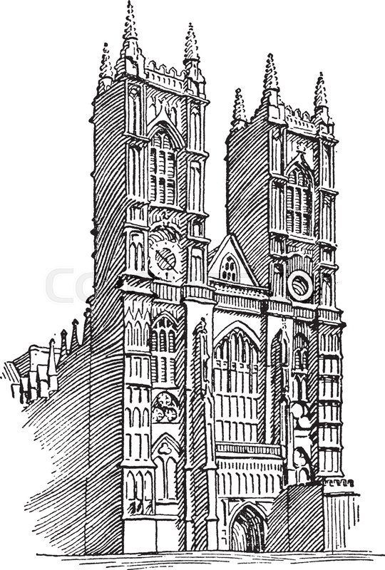 Westminster abbey clock clipart banner black and white download Gothic Cathedral Sketch at PaintingValley.com | Explore ... banner black and white download