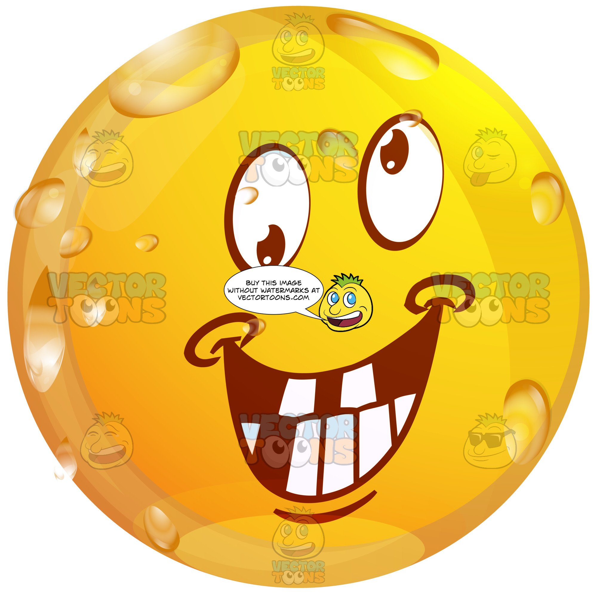 Wet face clipart jpg free stock Smiling Crazy Faced Wet Yellow Smiley Face Emoticon With Eyes Rolling In  Different Directions jpg free stock