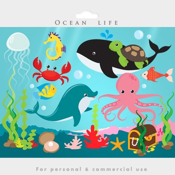 Whale clipart sea svg royalty free download Under the ocean - sea clip art fish dolphin whale jellyfish octopus treasure svg royalty free download