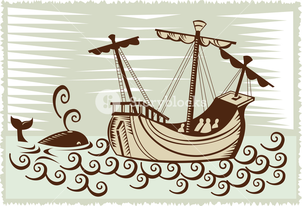 Whaling ship clipart clip black and white download Galleon Sailing Ship At Sea With Whale Royalty-Free Stock ... clip black and white download