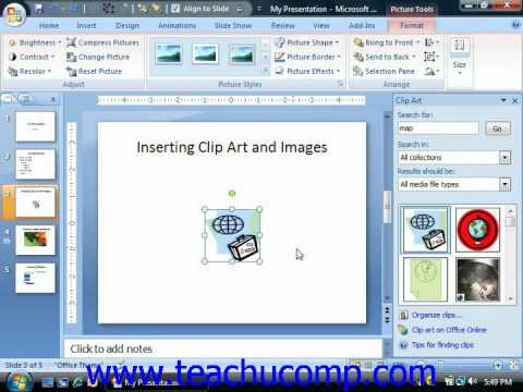Where do i find clipart in powerpoint stock PowerPoint Tutorial Inserting Clip Art and Pictures Microsoft Training  Lesson 5.1 stock