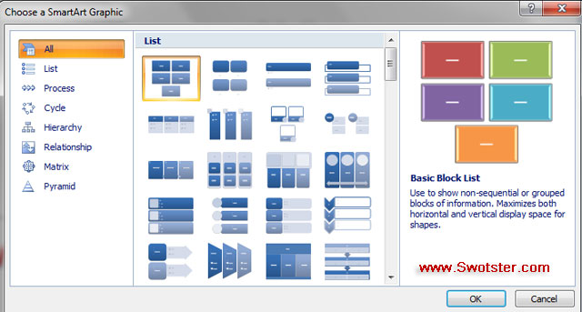 What color are the contextual tabs for clipart and smartart vector transparent library Lesson 25: SmartArt - Swotster vector transparent library