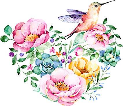 What flower does a hummingbird like clipart image transparent Pretty Watercolor Flower Hummingbird Heart Cartoon Vinyl Decal Sticker (4\