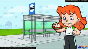 What goes into a sandwhich bus clipart image library library A Girl Munches A Ham Sandwich For Her Snack and A Bus Stop At The Side Of A  Street Background image library library