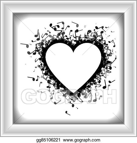 What is it made out of clipart clipart black and white download EPS Illustration - Heart made of of music notes. Vector ... clipart black and white download