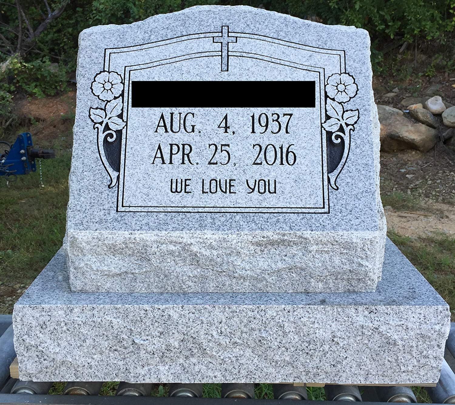 What is the price of a clipart for a headstone banner free download Granite Headstone Slant w/ Cross & Flowers banner free download