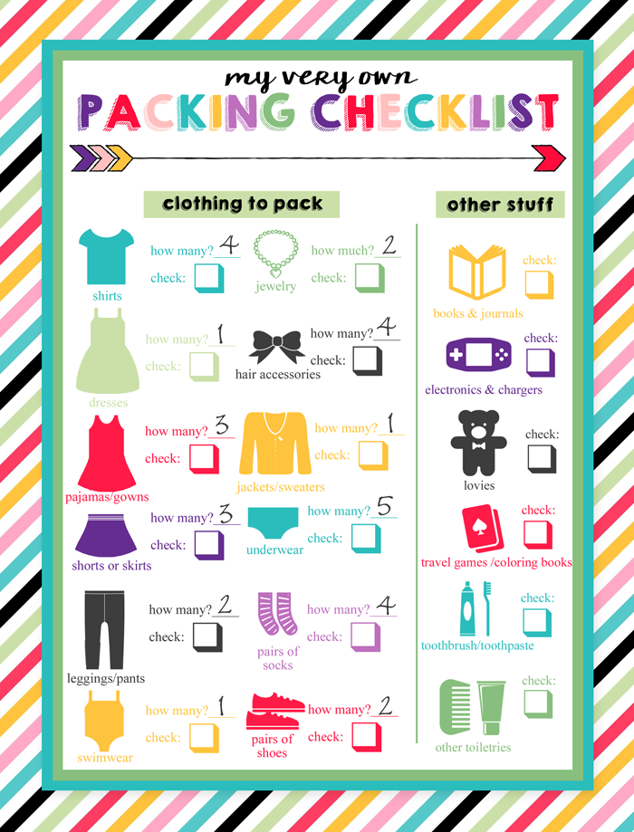 What to pack for beach bag children clipart clip black and white stock Free Printable Packing List for Kids | Travel | Travel ... clip black and white stock