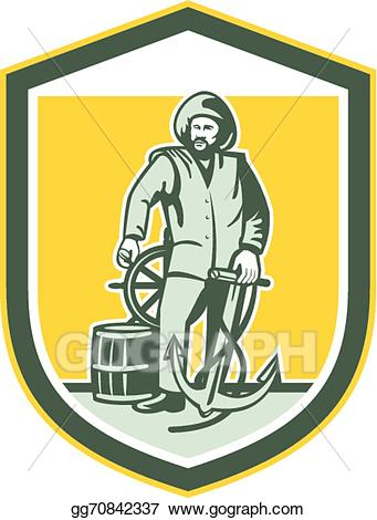 Wheal images clipart clipart black and white library Vector Art - Fisherman holding anchor wheel shield retro ... clipart black and white library