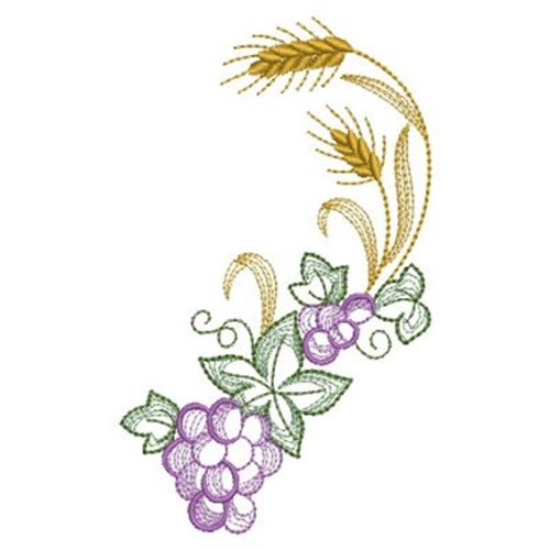 Wheat and grapes clipart image library stock Communion Wheat & Grapes Embroidery Design image library stock