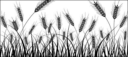 Wheat field silhouette clipart graphic black and white stock Wheat silhouettes vector material - Download free Other ... graphic black and white stock