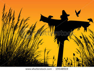 Wheat field silhouette clipart svg free library Clip Art Image: A Silhouette of a Scarecrow In Wheat Fields svg free library