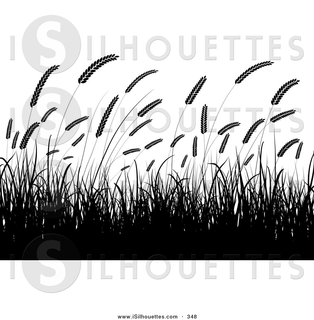 Wheat field silhouette clipart image free stock Silhouette Clipart of a Field of Silhouetted Wheat Grasses ... image free stock