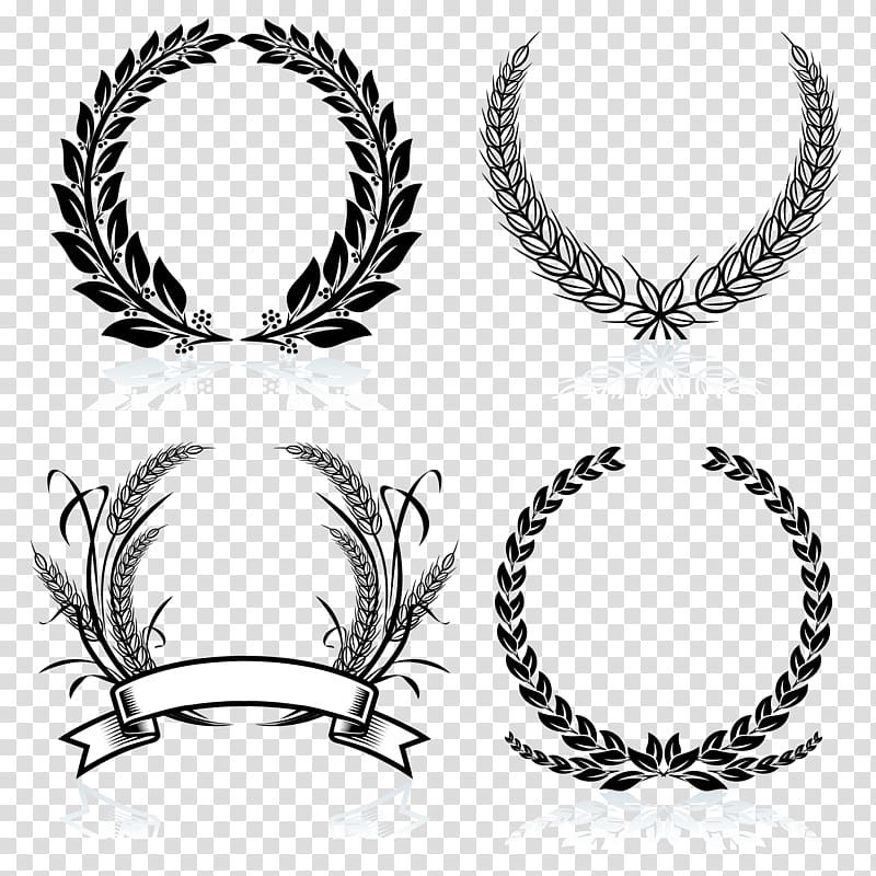 Wheat frame clipart banner White ribbon illustration, Laurel wreath Bay Laurel , Black ... banner