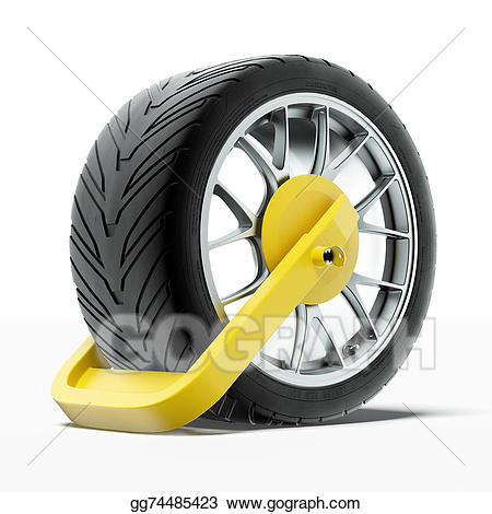 Wheel clamp clipart graphic black and white library Drawing - Car wheel clamp. Clipart Drawing gg74485423 - GoGraph graphic black and white library