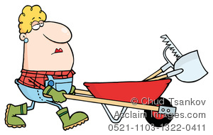 Wheelbarrow with tools clipart freeuse download Clipart Image of A Bored Blond Woman Pushing a Wheelbarrow ... freeuse download