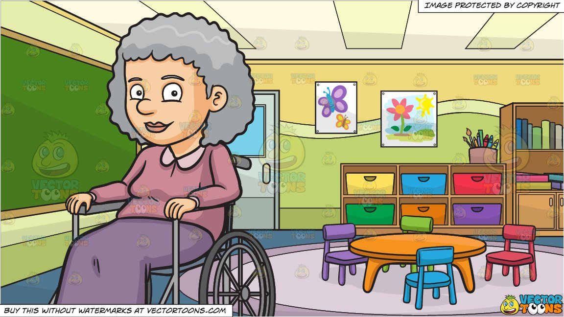 Wheelchair classroom images clipart svg free A Happy Grandmother Sitting In A Wheelchair and Inside A Kindergarten  Classroom Background svg free