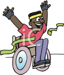 Wheelchair racing clipart vector black and white An African American Man Winning a Wheelchair Race - Royalty ... vector black and white