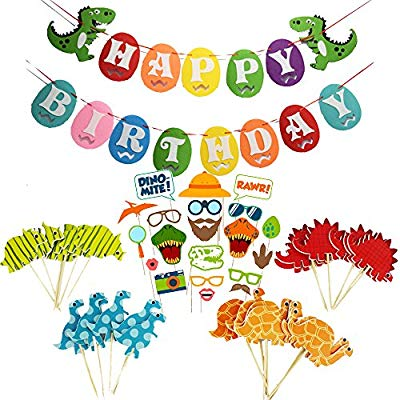 When dinosaurs ruled the world banner clipart pinterest picture iMagitek Dinosaur Birthday Party Decorations - Happy Birthday Dinosaur  Banner - 24 Pcs Dinosaur Cupcake Toppers for Kids Birthdays - 20 Pcs  Dinosaur ... picture