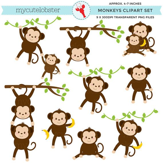 Where are the monkeys clipart png royalty free Monkeys Clipart Set - clip art set of cute monkeys, monkey ... png royalty free