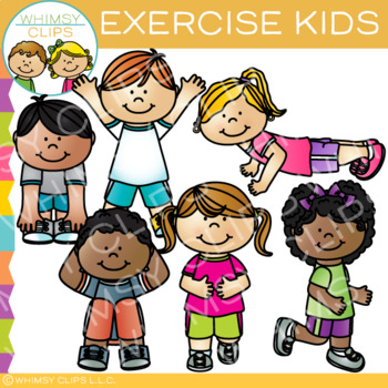 Kids exercise clipart black and white freeuse library Kids Exercise Clip Art by Whimsy Clips | Teachers Pay Teachers freeuse library