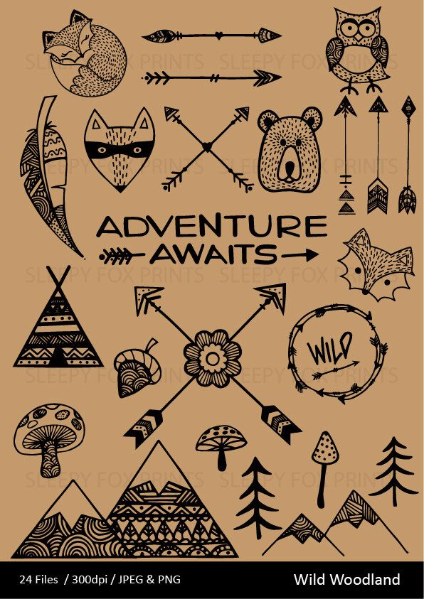 Whight cat adventurer clipart clip freeuse Wild Woodland Clipart, Wilderness,Arrows, Feather, Bear ... clip freeuse
