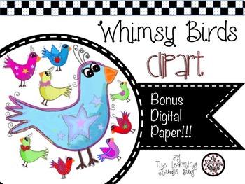 Whimsical bird clipart svg black and white stock Whimsy Birds Clipart & Digital Paper svg black and white stock