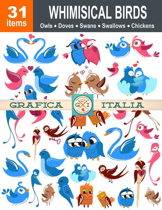 Whimsical bird clipart image royalty free Whimsical Birds Clipart - 31 Bird Images - Digital Download ... image royalty free
