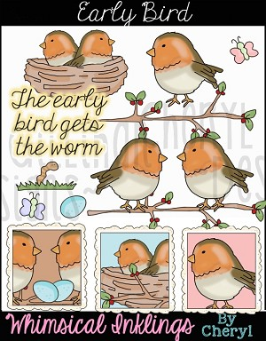 Whimsical bird clipart picture transparent library Early Bird Clipart Collection picture transparent library