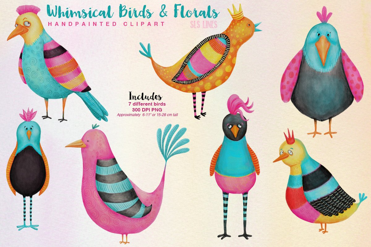 Whimsical bird clipart black and white library Whimsical Funky Birds & Florals Watercolor Set black and white library