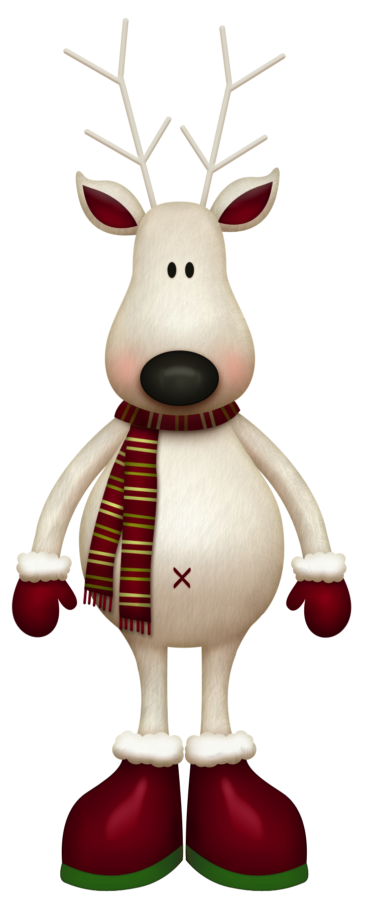 Whimsical christmas clipart clip art royalty free download White Reindeer with Red Scarf PNG Picture | Christmas Crafts ... clip art royalty free download