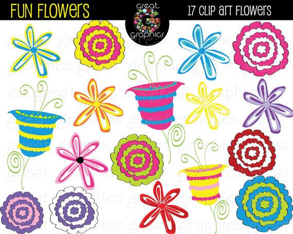 Whimsical flowers clip art clip art freeuse stock Flower Clipart Digital Clip Art Flowers Whimsical Flowers ... clip art freeuse stock