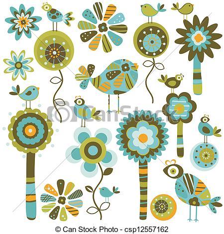 Whimsical flowers clip art svg transparent download Flowers whimsical Vector Clip Art EPS Images. 1,563 Flowers ... svg transparent download