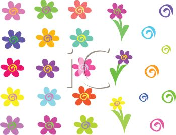 Whimsical flowers clip art graphic transparent library Whimsical Flowers Clipart - Clipart Kid graphic transparent library