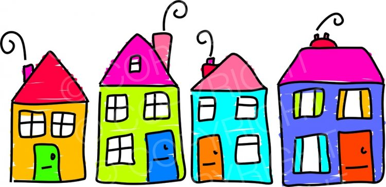 Whimsical houses clipart images png freeuse download Whimsical Street of Houses, Building Clip Art Illustration ... png freeuse download
