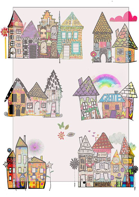 Whimsical houses clipart images svg library download Digital collage sheet...whimsical houses scrapbook/journal ... svg library download