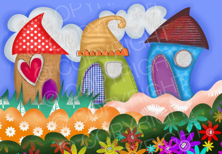 Whimsical houses clipart images transparent download Whimsical Collage Houses ClipArt – Prawny Clipart Cartoons ... transparent download