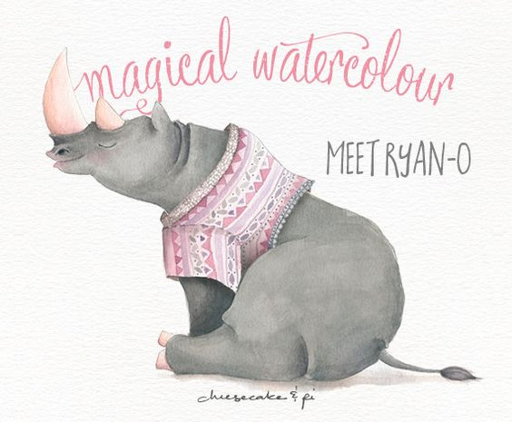 Whimsical o clipart png freeuse Watercolor Rhino: animal clipart / Safari print / whimsical ... png freeuse