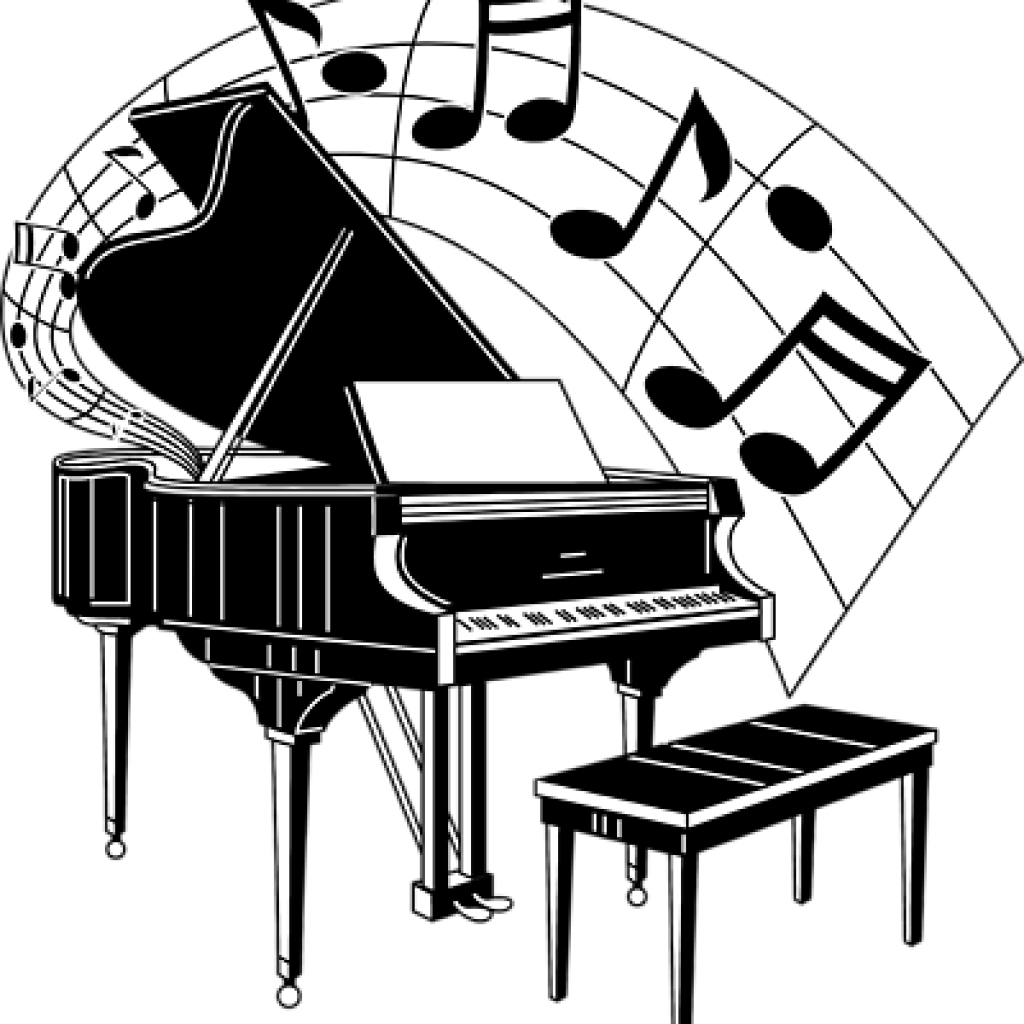 Whimsical piano clipart black and white download Piano clipart free download on WebStockReview black and white download