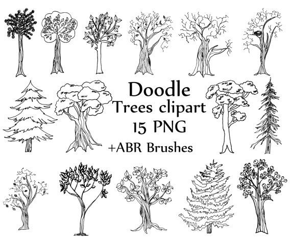 Whimsical pine tree clipart clipart Trees doodle clipart: \