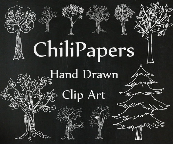 Whimsical pine tree clipart clip art royalty free library Chalkboard Trees clipart: \