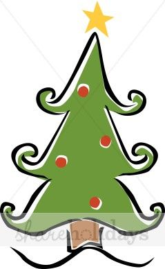 Whimsical pine tree clipart